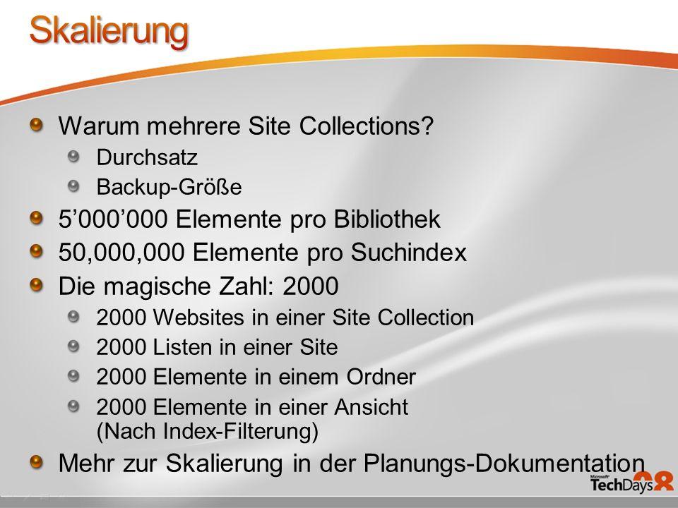 Warum mehrere Site Collections.