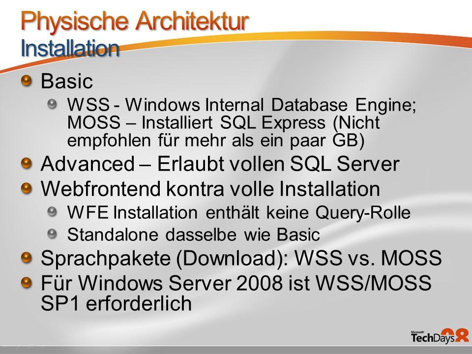 Unbedingt GBit zwischen WFEs und DB.Bei Engpässen an den WFEs zunächst CPUs erweitern.