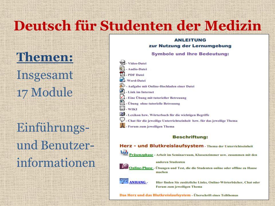 Deutsch für Studenten der Medizin Themen: Insgesamt 17 Module Einführungs- und Benutzer- informationen