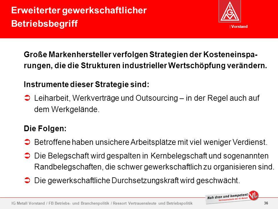Vorstand 36 IG Metall Vorstand / FB Betriebs- und Branchenpolitik / Ressort Vertrauensleute und Betriebspolitik Große Markenhersteller verfolgen Strat