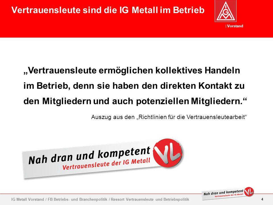 Vorstand 15 IG Metall Vorstand / FB Betriebs- und Branchenpolitik / Ressort Vertrauensleute und Betriebspolitik Mitgliederwerbung im Betrieb ist erlaubt.