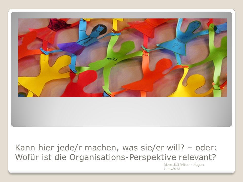 Kann hier jede/r machen, was sie/er will? – oder: Wofür ist die Organisations-Perspektive relevant? Diversität/Alter - Hagen 14.1.2013