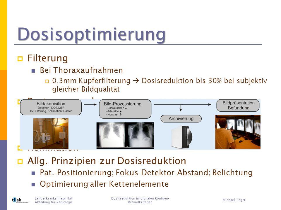 Dosisoptimierung Filterung Bei Thoraxaufnahmen 0,3mm Kupferfilterung Dosisreduktion bis 30% bei subjektiv gleicher Bildqualität Rasterverwendung In Hochabsorptionsregionen (z.B.