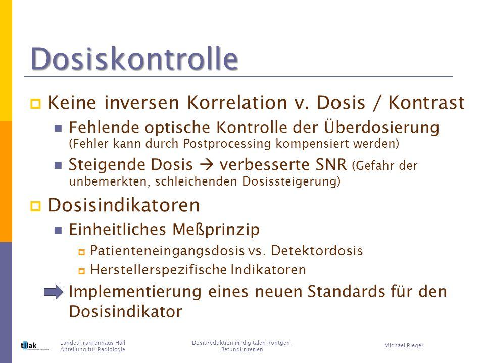 Dosiskontrolle Keine inversen Korrelation v.