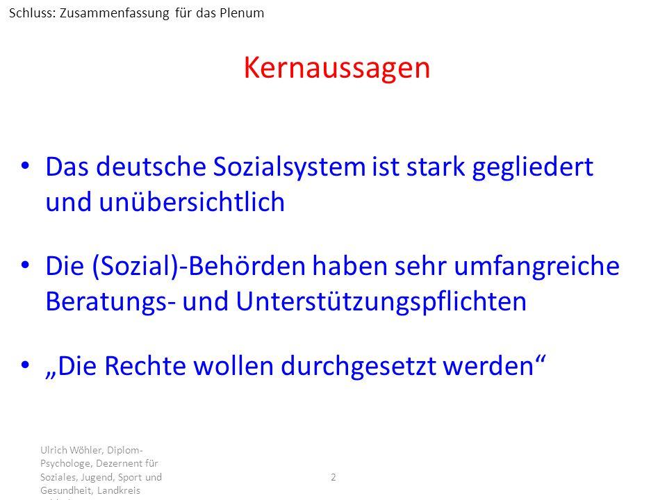 Kernaussagen Das deutsche Sozialsystem ist stark gegliedert und unübersichtlich Die (Sozial)-Behörden haben sehr umfangreiche Beratungs- und Unterstüt