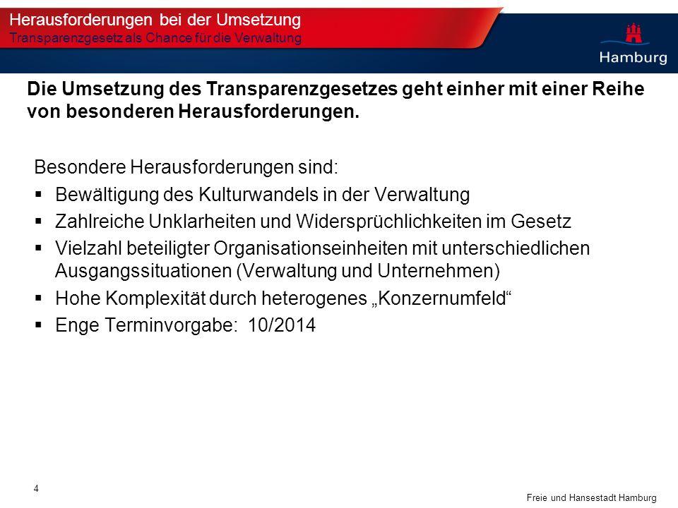 Freie und Hansestadt Hamburg Besondere Herausforderungen sind: Bewältigung des Kulturwandels in der Verwaltung Zahlreiche Unklarheiten und Widersprüch
