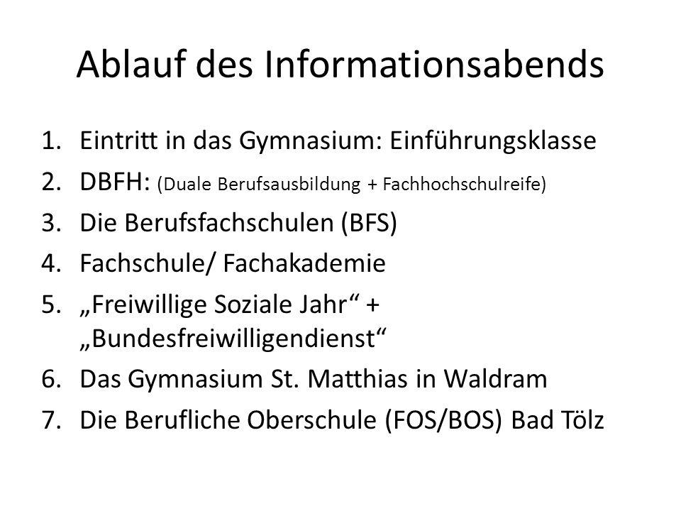 Ablauf des Informationsabends 1.Eintritt in das Gymnasium: Einführungsklasse 2.DBFH: (Duale Berufsausbildung + Fachhochschulreife) 3.Die Berufsfachsch