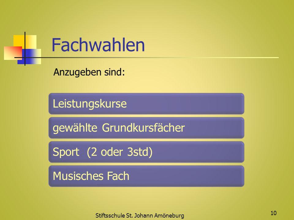 Fachwahlen Stiftsschule St. Johann Amöneburg 10 Leistungskursegewählte GrundkursfächerSport (2 oder 3std)Musisches Fach Anzugeben sind: