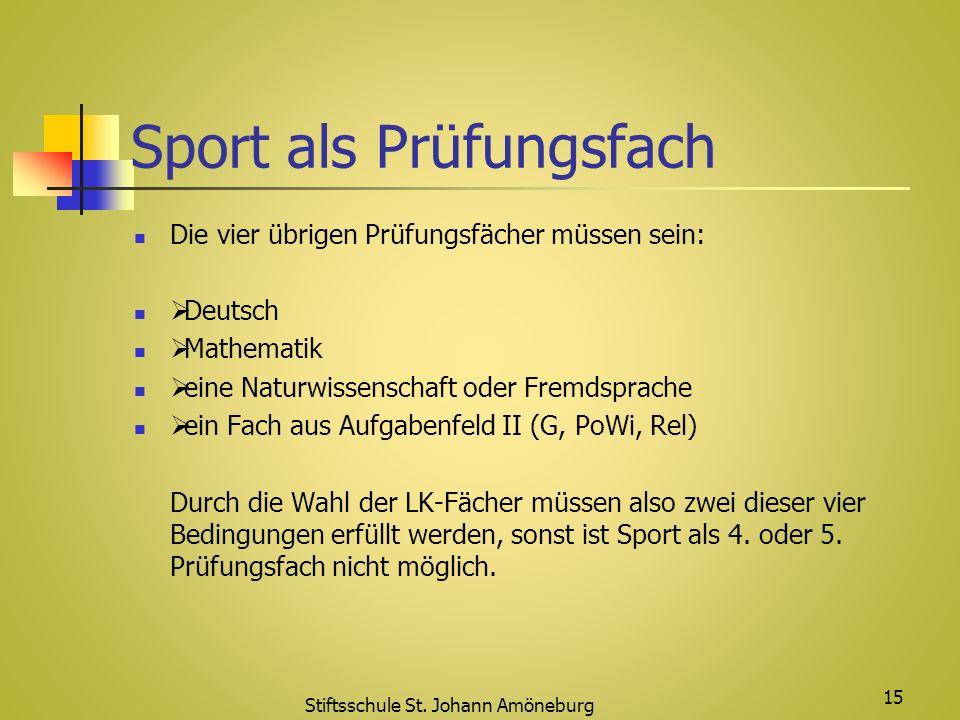 Sport als Prüfungsfach Die vier übrigen Prüfungsfächer müssen sein: Deutsch Mathematik eine Naturwissenschaft oder Fremdsprache ein Fach aus Aufgabenf