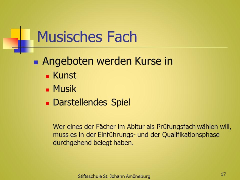 Musisches Fach Angeboten werden Kurse in Kunst Musik Darstellendes Spiel Wer eines der Fächer im Abitur als Prüfungsfach wählen will, muss es in der E
