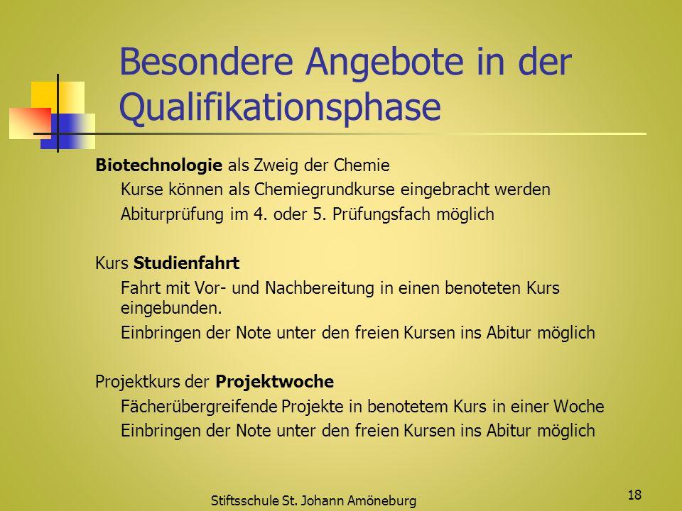 Besondere Angebote in der Qualifikationsphase Biotechnologie als Zweig der Chemie Kurse können als Chemiegrundkurse eingebracht werden Abiturprüfung i