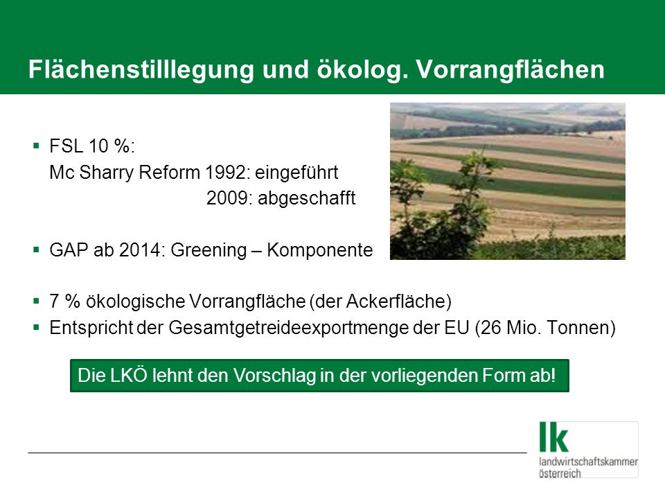 Flächenstilllegung und ökolog. Vorrangflächen FSL 10 %: Mc Sharry Reform 1992: eingeführt 2009: abgeschafft GAP ab 2014: Greening – Komponente 7 % öko