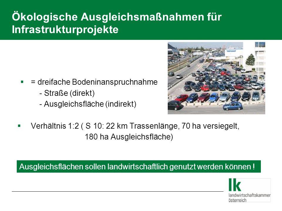 Ökologische Ausgleichsmaßnahmen für Infrastrukturprojekte = dreifache Bodeninanspruchnahme - Straße (direkt) - Ausgleichsfläche (indirekt) Verhältnis