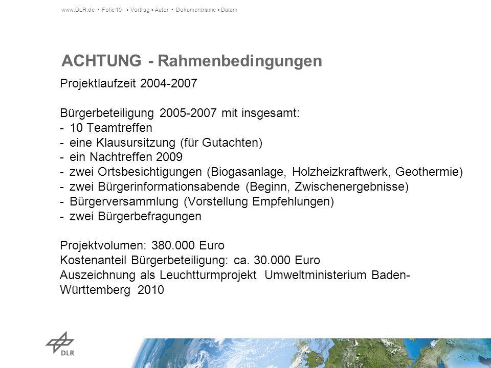 ACHTUNG - Rahmenbedingungen Projektlaufzeit 2004-2007 Bürgerbeteiligung 2005-2007 mit insgesamt: -10 Teamtreffen -eine Klausursitzung (für Gutachten)