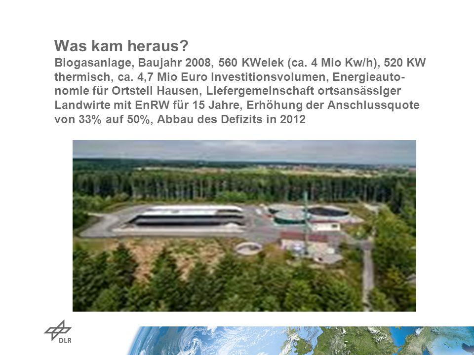 Was kam heraus? Biogasanlage, Baujahr 2008, 560 KWelek (ca. 4 Mio Kw/h), 520 KW thermisch, ca. 4,7 Mio Euro Investitionsvolumen, Energieauto- nomie fü