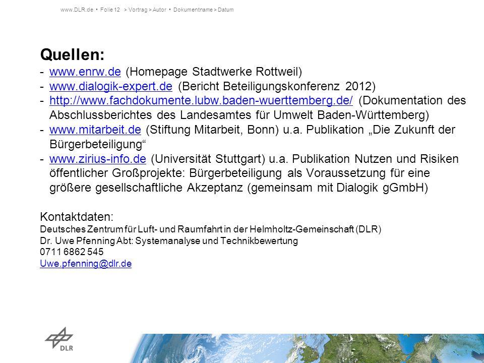 Quellen: -www.enrw.de (Homepage Stadtwerke Rottweil)www.enrw.de -www.dialogik-expert.de (Bericht Beteiligungskonferenz 2012)www.dialogik-expert.de -ht
