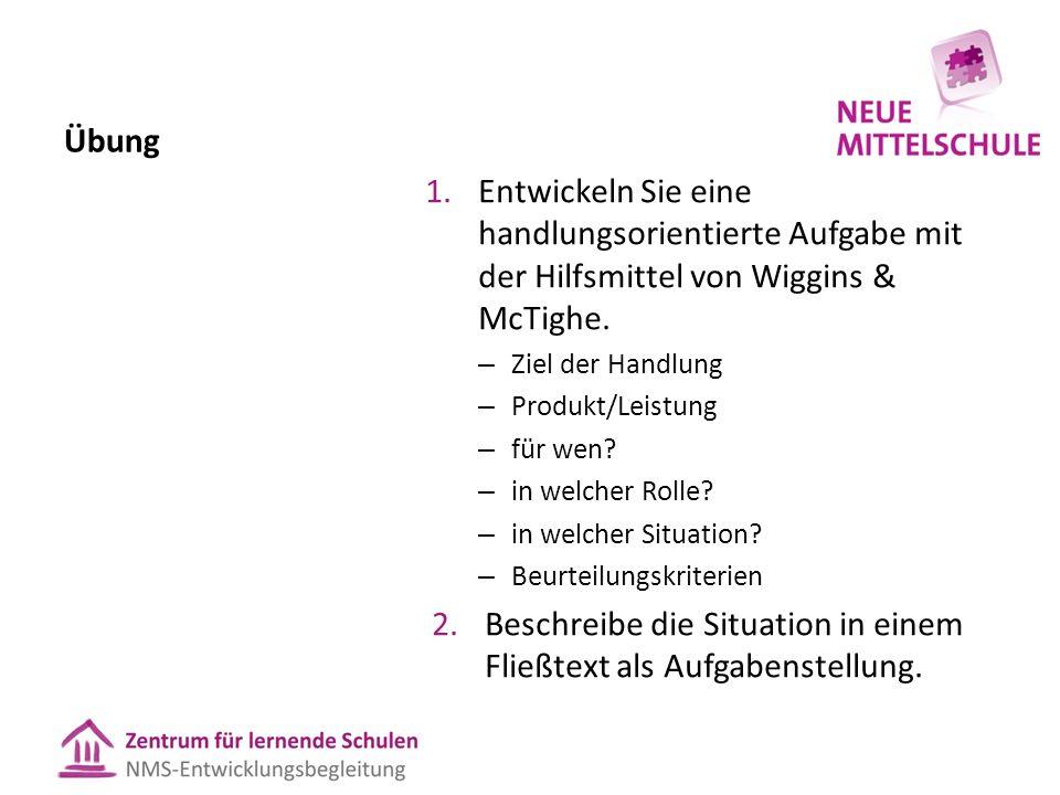 Übung 1.Entwickeln Sie eine handlungsorientierte Aufgabe mit der Hilfsmittel von Wiggins & McTighe. – Ziel der Handlung – Produkt/Leistung – für wen?