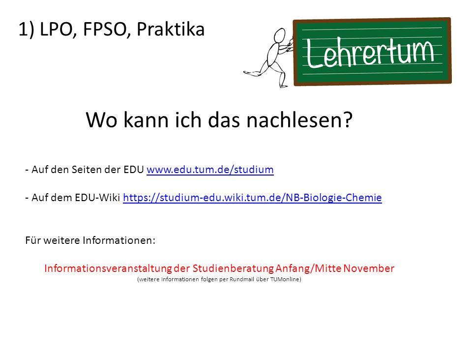 1) LPO, FPSO, Praktika Wo kann ich das nachlesen.