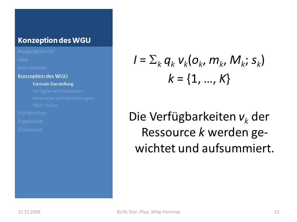 Konzeption des WGU KennwertOptimal o k Minimal m k Maximal M k BB7-77 GK404 MA404 RB006 Ausgangspunkt Idee Instrumente Konzeption des WGU Formale Darstellung Verfügbarkeitsfunktionen Kennwerte und Gewichtungen WGU-Stufen Stichproben Ergebnisse Diskussion KennwertVrefügbarkeit vk BBv BB (s BB ) = (s BB + 7) / 14 GKv GK (s GK ) = s GK / 4 MAv MA (s MA ) = s MA / 4 RBv RB (s RB ) = (6 – s RB ) / 6 12.11.200912BUW, Dipl.-Phys.
