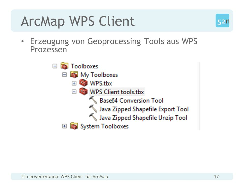 Ein erweiterbarer WPS Client für ArcMap 17 ArcMap WPS Client Erzeugung von Geoprocessing Tools aus WPS Prozessen