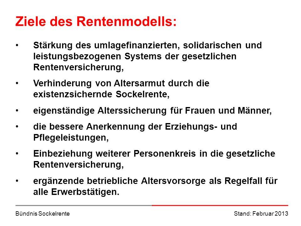 Bündnis SockelrenteStand: Februar 2013 Ziele des Rentenmodells: Stärkung des umlagefinanzierten, solidarischen und leistungsbezogenen Systems der gese