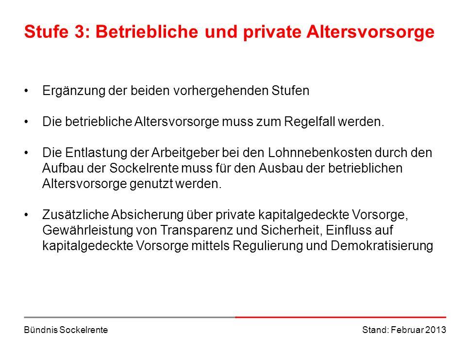 Bündnis SockelrenteStand: Februar 2013 Stufe 3: Betriebliche und private Altersvorsorge Ergänzung der beiden vorhergehenden Stufen Die betriebliche Al