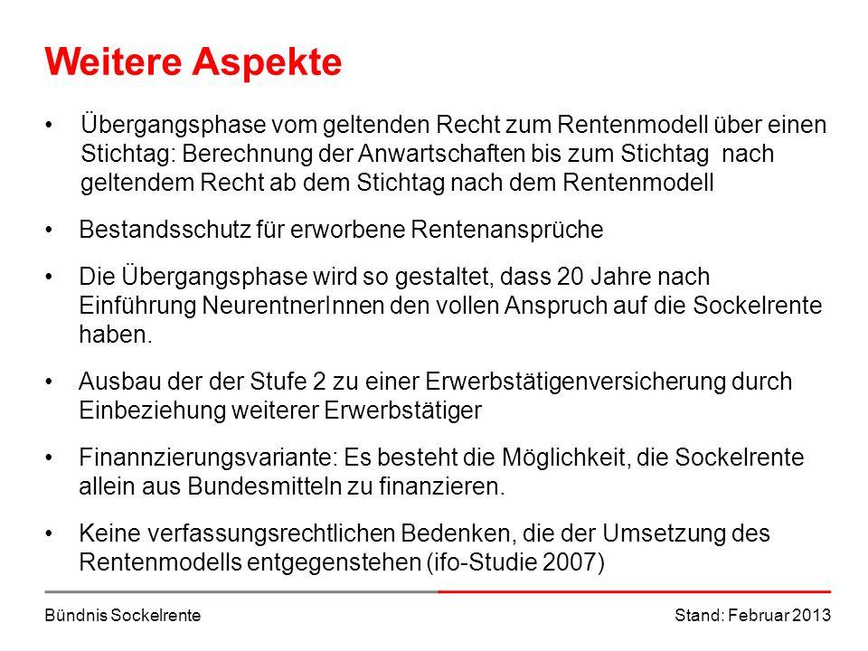 Bündnis SockelrenteStand: Februar 2013 Weitere Aspekte Übergangsphase vom geltenden Recht zum Rentenmodell über einen Stichtag: Berechnung der Anwarts