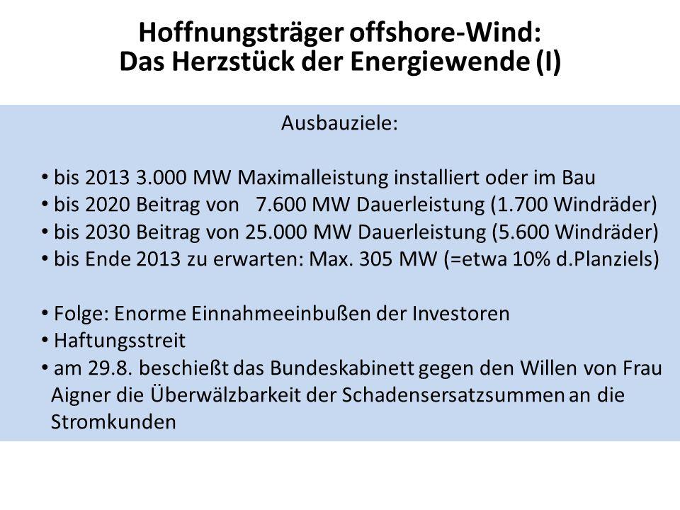 Hoffnungsträger offshore-Wind: Das Herzstück der Energiewende (I) Ausbauziele: bis 2013 3.000 MW Maximalleistung installiert oder im Bau bis 2020 Beitrag von 7.600 MW Dauerleistung (1.700 Windräder) bis 2030 Beitrag von 25.000 MW Dauerleistung (5.600 Windräder) bis Ende 2013 zu erwarten: Max.