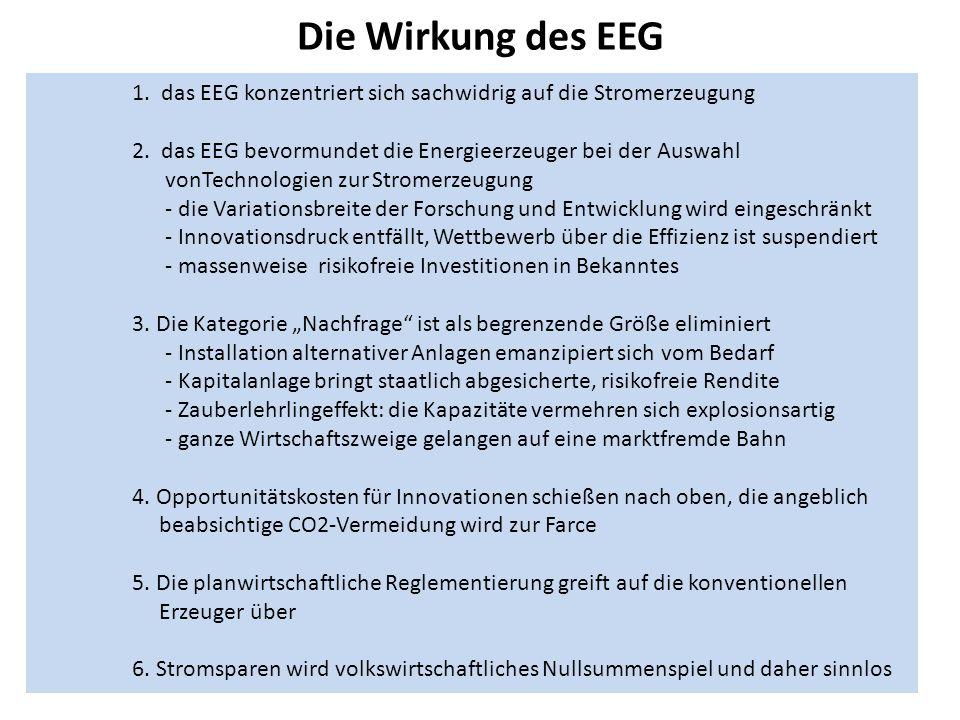 Die Wirkung des EEG 1.das EEG konzentriert sich sachwidrig auf die Stromerzeugung 2.