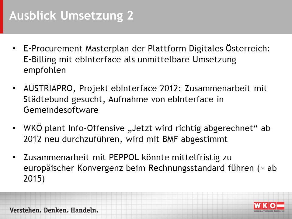 Ausblick Umsetzung 2 E-Procurement Masterplan der Plattform Digitales Österreich: E-Billing mit ebInterface als unmittelbare Umsetzung empfohlen AUSTR