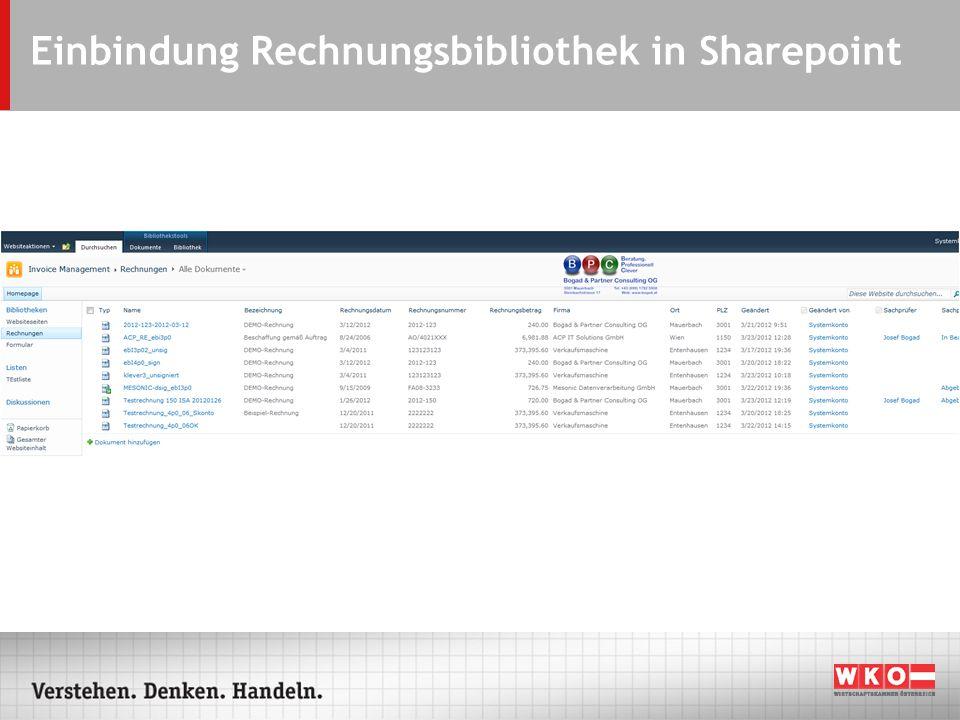 Einbindung Rechnungsbibliothek in Sharepoint
