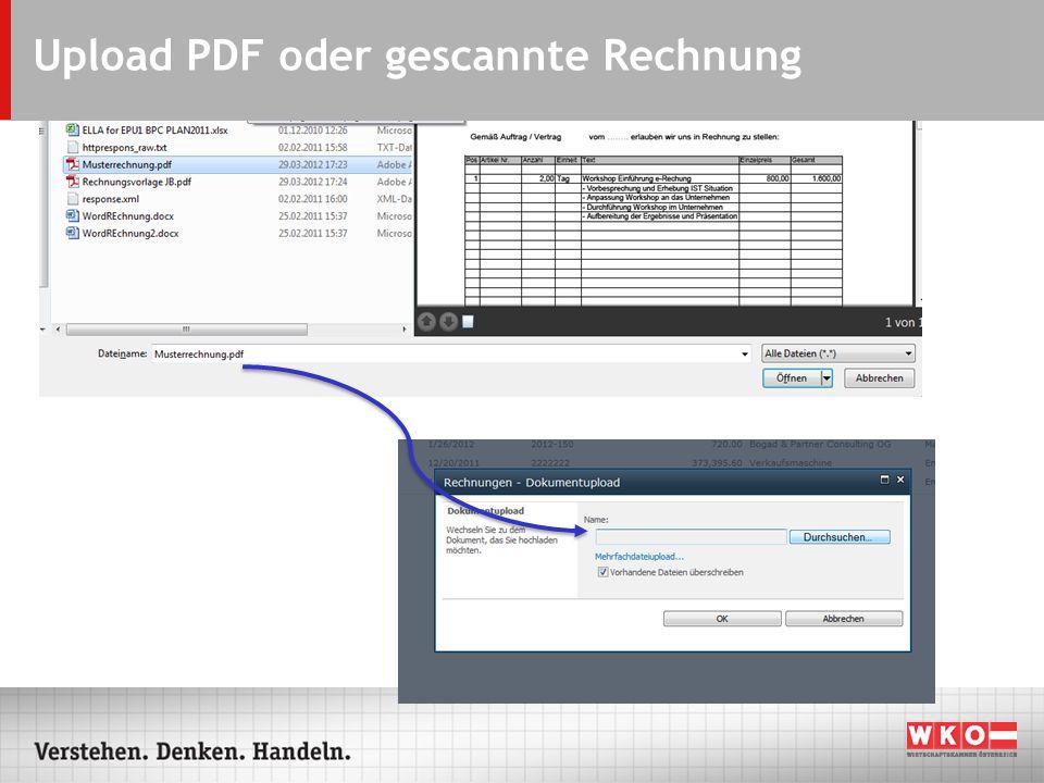 Upload PDF oder gescannte Rechnung