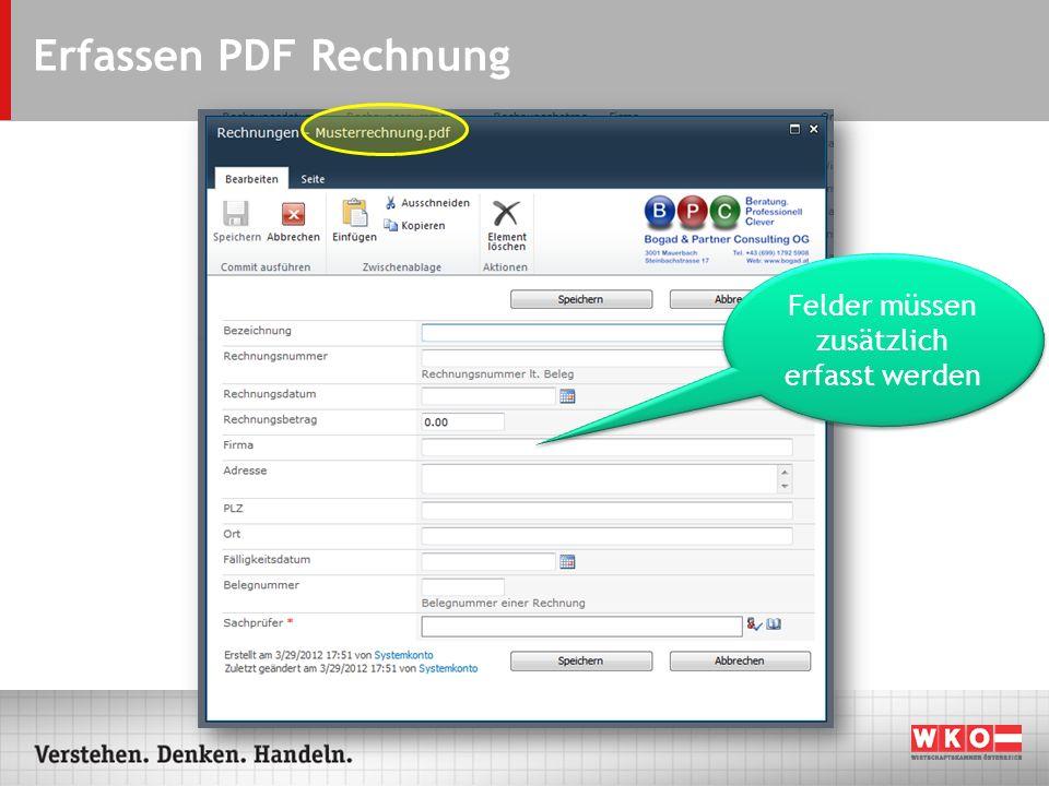 Erfassen PDF Rechnung Felder müssen zusätzlich erfasst werden