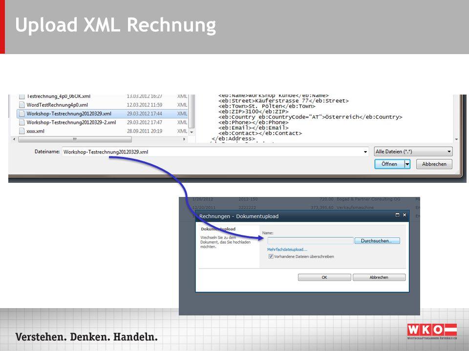 Upload XML Rechnung