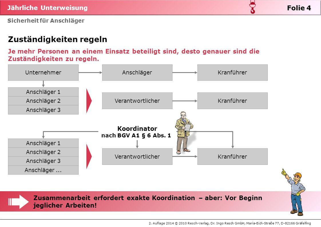 Jährliche Unterweisung 2. Auflage 2014 © 2010 Resch-Verlag, Dr. Ingo Resch GmbH, Maria-Eich-Straße 77, D-82166 Gräfelfing Sicherheit für Anschläger St