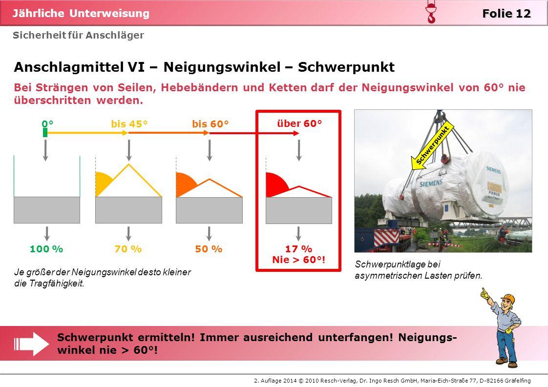 Jährliche Unterweisung 2. Auflage 2014 © 2010 Resch-Verlag, Dr. Ingo Resch GmbH, Maria-Eich-Straße 77, D-82166 Gräfelfing Sicherheit für Anschläger Fo