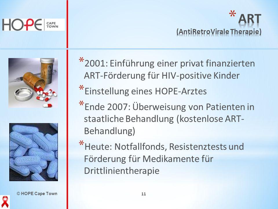 © HOPE Cape Town 11 * 2001: Einführung einer privat finanzierten ART-Förderung für HIV-positive Kinder * Einstellung eines HOPE-Arztes * Ende 2007: Üb