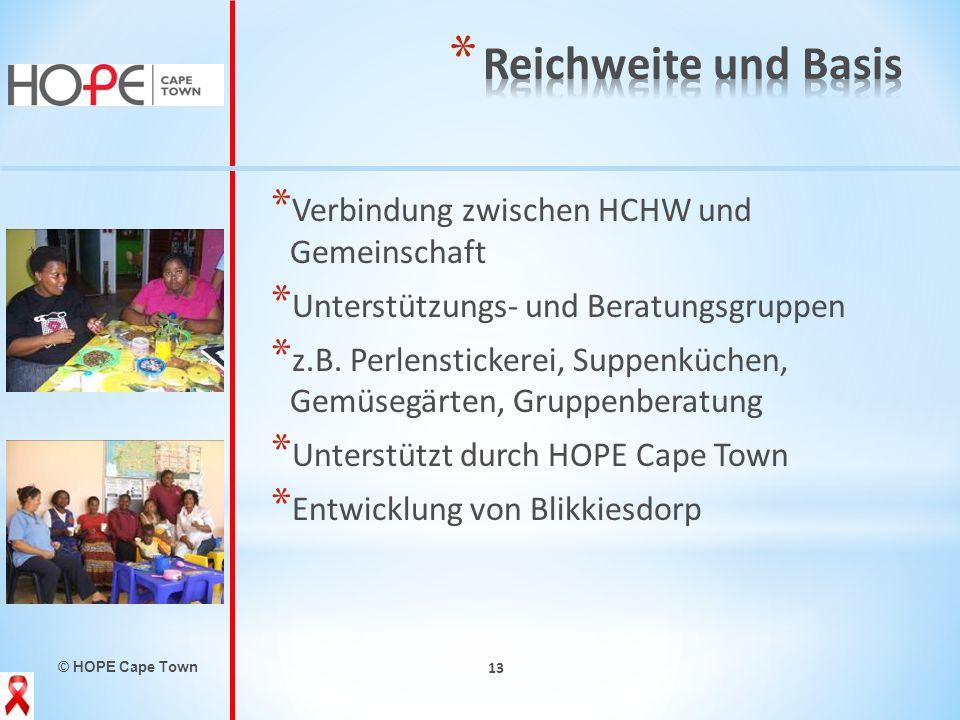 © HOPE Cape Town 13 * Verbindung zwischen HCHW und Gemeinschaft * Unterstützungs- und Beratungsgruppen * z.B. Perlenstickerei, Suppenküchen, Gemüsegär
