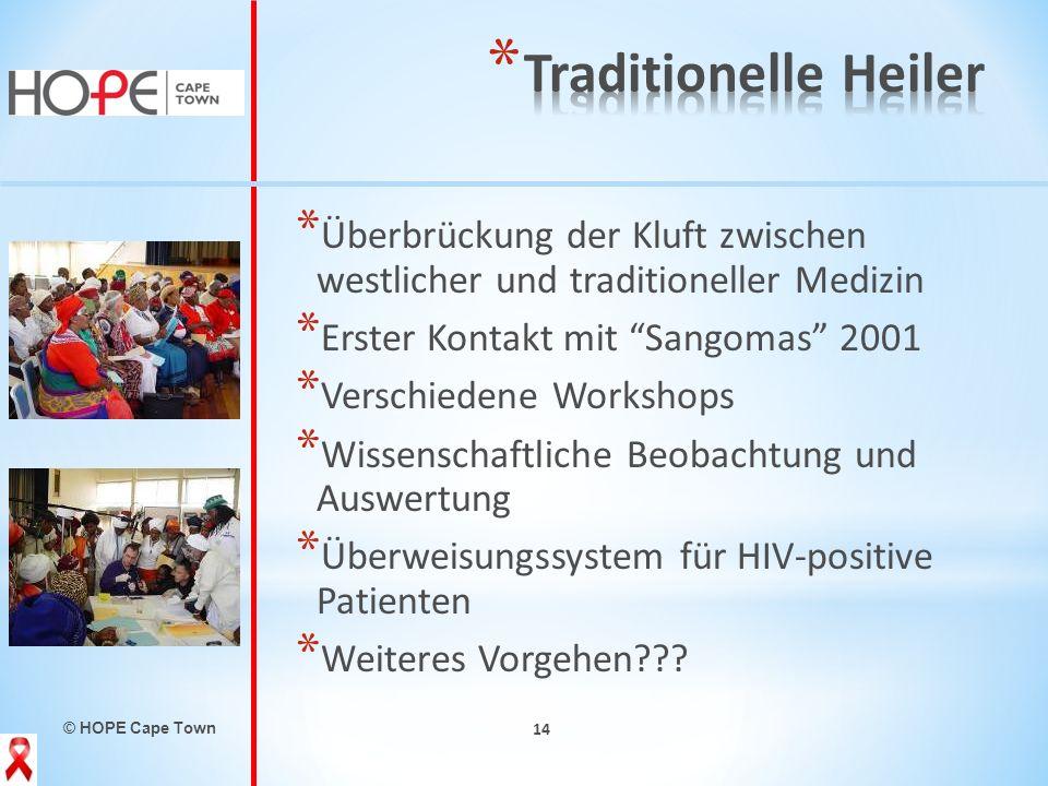 © HOPE Cape Town 14 * Überbrückung der Kluft zwischen westlicher und traditioneller Medizin * Erster Kontakt mit Sangomas 2001 * Verschiedene Workshop