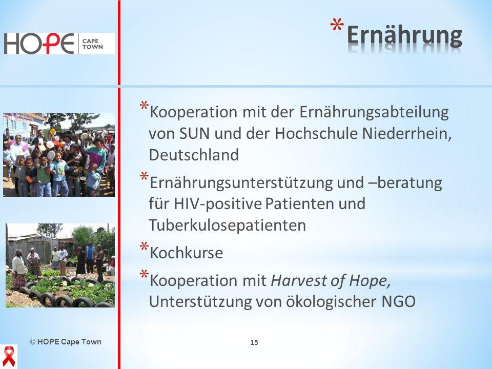 © HOPE Cape Town 15 * Kooperation mit der Ernährungsabteilung von SUN und der Hochschule Niederrhein, Deutschland * Ernährungsunterstützung und –berat