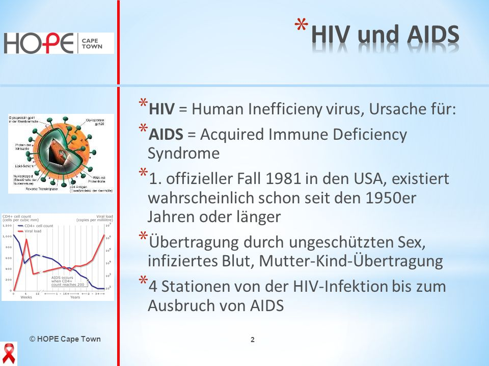 © HOPE Cape Town 2 * HIV = Human Inefficieny virus, Ursache für: * AIDS = Acquired Immune Deficiency Syndrome * 1. offizieller Fall 1981 in den USA, e