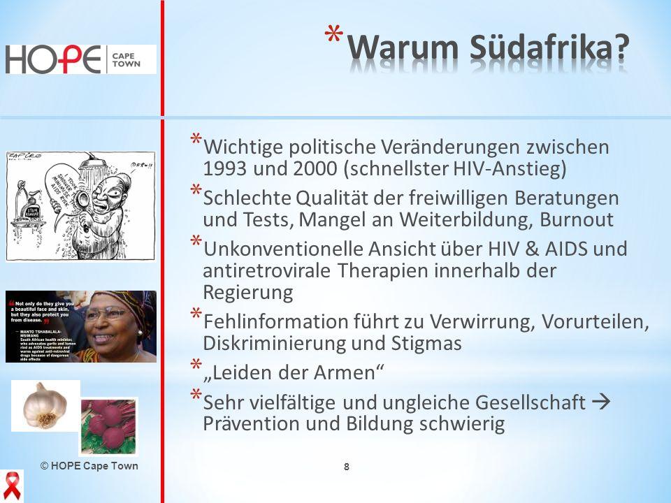 © HOPE Cape Town 8 * Wichtige politische Veränderungen zwischen 1993 und 2000 (schnellster HIV-Anstieg) * Schlechte Qualität der freiwilligen Beratung