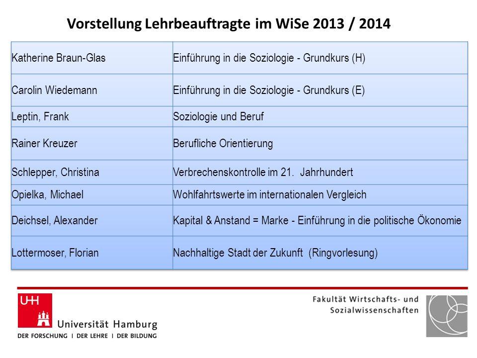 Vorstellung Lehrbeauftragte im WiSe 2013 / 2014