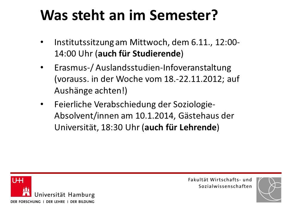 Was steht an im Semester? Institutssitzung am Mittwoch, dem 6.11., 12:00- 14:00 Uhr (auch für Studierende) Erasmus-/ Auslandsstudien-Infoveranstaltung