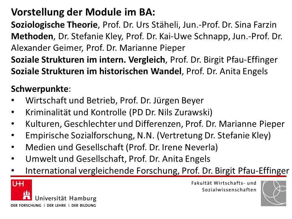 Vorstellung der Module im BA: Soziologische Theorie, Prof. Dr. Urs Stäheli, Jun.-Prof. Dr. Sina Farzin Methoden, Dr. Stefanie Kley, Prof. Dr. Kai-Uwe
