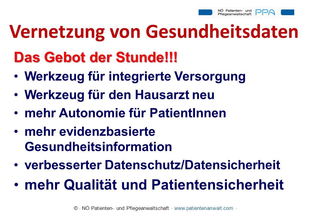 © · NÖ Patienten- und Pflegeanwaltschaft · www.patientenanwalt.com · Vernetzung von Gesundheitsdaten Das Gebot der Stunde!!! Werkzeug für integrierte