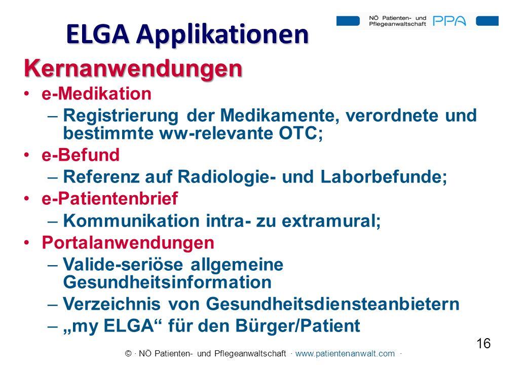 © · NÖ Patienten- und Pflegeanwaltschaft · www.patientenanwalt.com · ELGA Applikationen Kernanwendungen e-Medikation –Registrierung der Medikamente, v