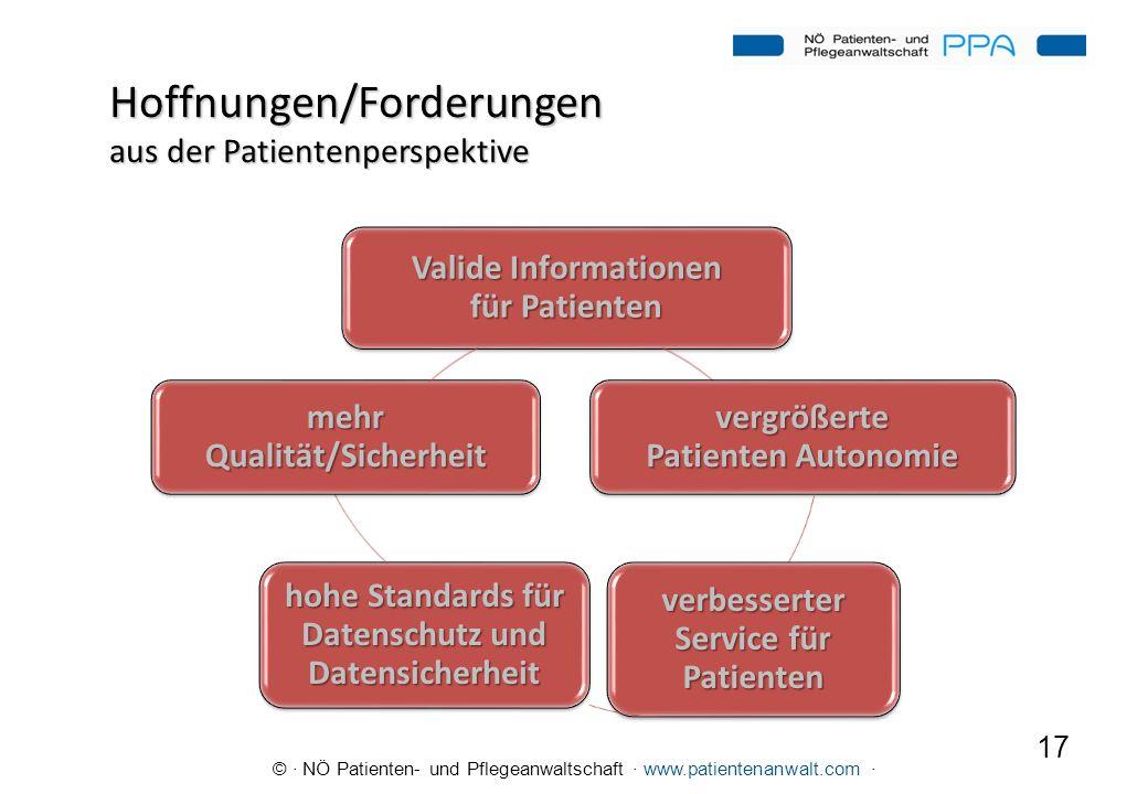 © · NÖ Patienten- und Pflegeanwaltschaft · www.patientenanwalt.com · Hoffnungen/Forderungen aus der Patientenperspektive 17