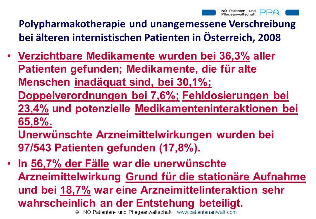 © · NÖ Patienten- und Pflegeanwaltschaft · www.patientenanwalt.com · Polypharmakotherapie und unangemessene Verschreibung bei älteren internistischen
