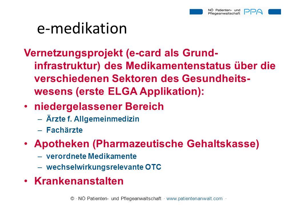 © · NÖ Patienten- und Pflegeanwaltschaft · www.patientenanwalt.com · e-medikation Vernetzungsprojekt (e-card als Grund- infrastruktur) des Medikamente